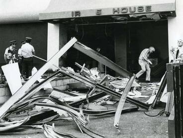 Image: Bomb damage to the Wanganui Computer Centre, 1982