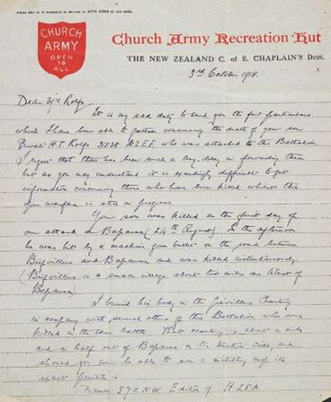 Image: Letter of condolence