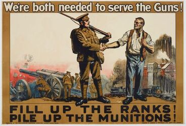 Image: Poster, 'We're both needed to serve the Guns!'