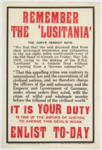 Image: Poster, 'Remember The Lusitania'