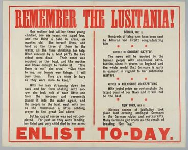Image: Poster, 'Remember The Lusitania!'