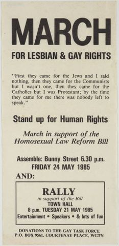 Image: Leaflet, 'March for Lesbian & Gay Rights'