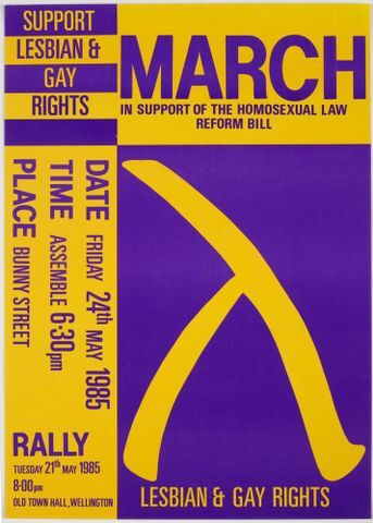 Image: Poster, 'March in Support of the Homosexual Law Reform Bill'