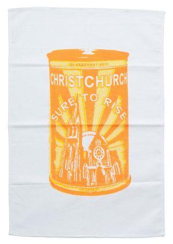 Image: Tea towel, 'Christchurch Sure to Rise'