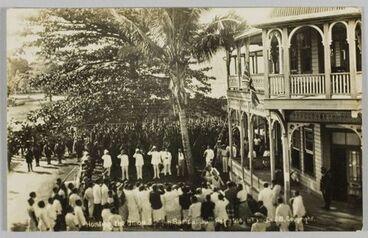 Image: Postcard, 'Hoisting the Union Jack in Samoa. 30th Aug 1914.'
