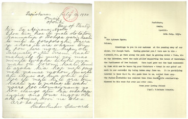 Image: Letter in Te Reo from Kuhukuhu Edwards to Apirana Ngata