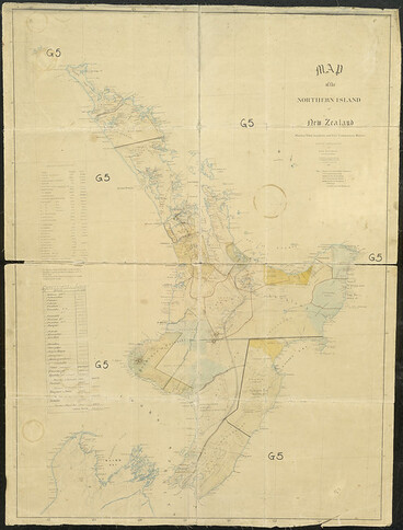 Image: Map of the North Island, with confiscated land blocks, iwi boundaries and Māori population, 1863