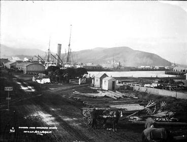Image: Wharves from overbridge, Dunedin
