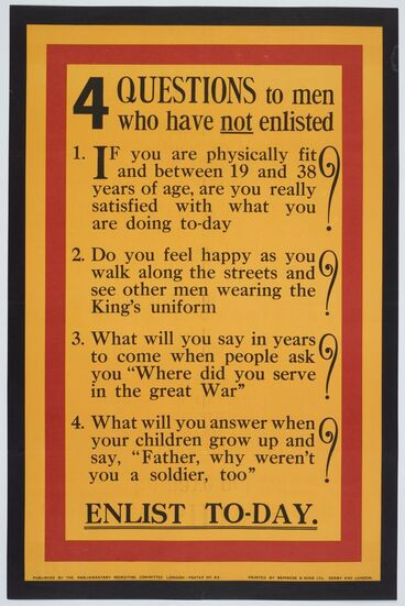 Image: Poster, '4 Questions to men who have not enlisted'