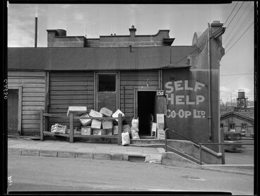 Image: Self Help Co-op Grocery Store, corner of Mulgrave Street and Lambton Quay