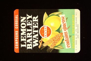 "Image: Food Label Sample - ""Innes Compound Cordial Lemon Barley Water"""