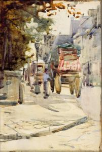 """Image: """"Circus Van's Arriving in Dinan, Brittany"""" formerly known as """"The Village Street"""""""