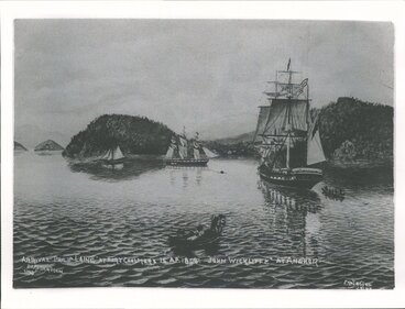 Image: Arrival of Philip Laing at Pt. C in Ap. 1848. John Wilckliffe at anchor