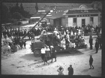 Image: Erection of first electric power pole