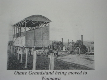 Image: Otane Grandstand being moved to Waipawa