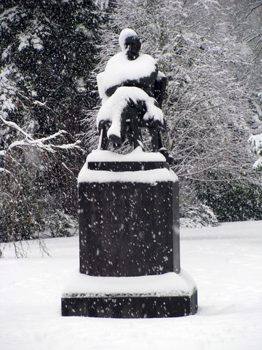 Image: 25th Jul 2011 - Snow - Botanic Gardens #4 - William Sefton Moorhouse Statue