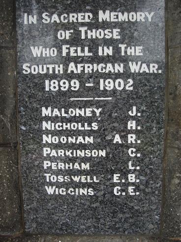Image: Boer War names on Akaroa War Memorial
