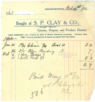 Image: Copy of invoice from S. P. Clay and Co. Brightwater, 1912