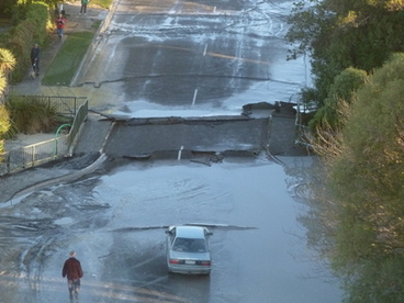 Image: Road damage at Kaiapoi