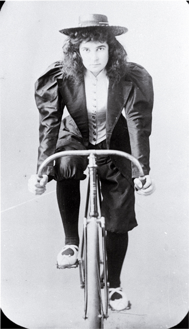 Image: Lady racing cyclist, Lancaster Park, Christchurch