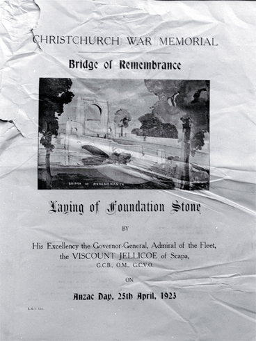 Image: Poster advertising the laying of the foundation stone of the Bridge of Remembrance