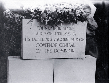 Image: The foundation stone of the Bridge of Remembrance