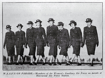Image: Women of the Women's Auxiliary Air Force (WAAFs) on parade at Harewood Air Force Station, Christchurch