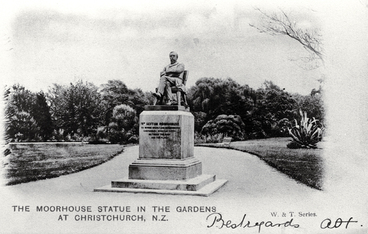 Image: William Sefton Moorhouse statue, Botanic Gardens, Christchurch