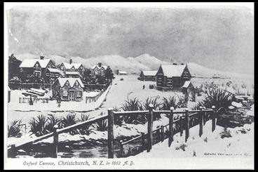 Image: Snow on Oxford Terrace, Christchurch