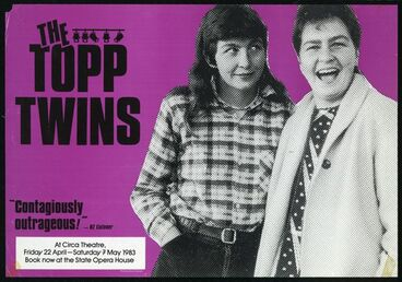 Image: Topp Twins at Circa Theatre, Friday 22 April - Saturday 7 May 1983.