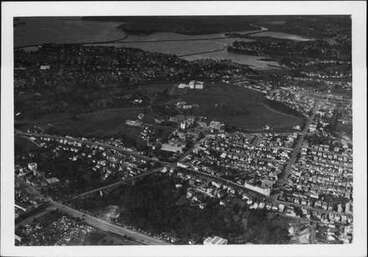 Image: Aerial view over Domain and Hospital.