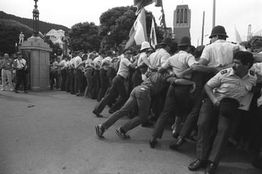 Image: Phalanx of straining police near Parliament. Waitangi Day protests, Wellington