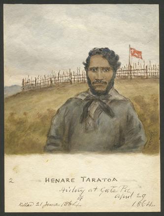 Image: Henare Taratoa, history at Gate Pa, April 29 1864. Killed 21 June 1864.