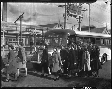 Image: [A bus load of women factory workers]