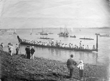 Image: [Maori waka on Auckland Harbour]