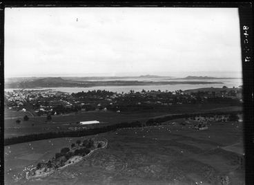 Image: Looking down from One Tree Hill to Onehunga and Manukau Harbour.