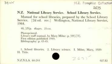 Image: Manual for school libraries, prepared by the School Library Service