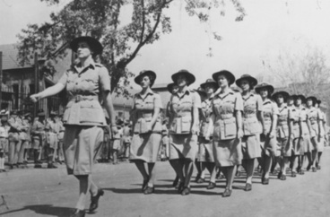 Image: Marching on arrival in Cairo, Women's war service auxilary 'Tuis'