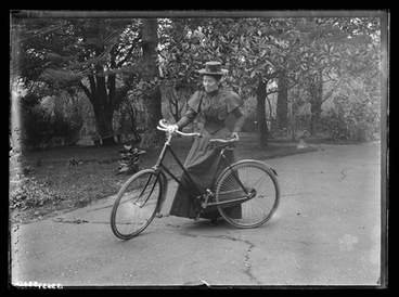 Image: [Nurse Bessie McKay, with bicycle, Auckland Private Hospital]
