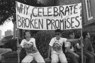 Image: Protesters with 'Why Celebrate Broken Promises' banner, Waitangi protest