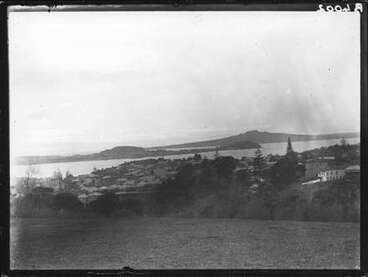 Image: View from Domain across North Head to Rangitoto.