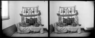 Image: A group of Maori carvings and textiles, Napier