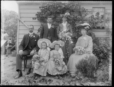 Image: Unidentified bride and groom with best man, bridesmaid and flower girls, probably Christchurch district