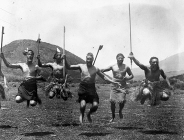 Image: Men of Ngati Tuwharetoa performing a haka at Tokaanu