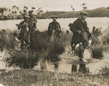 Image: Creator unknown : Photograph of duck shooters, Lake Wairarapa