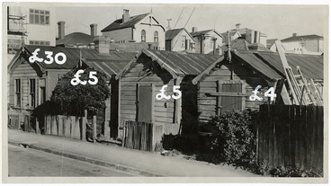 Image: Cottages in Haining Street, Wellington, with 1947 prices