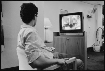 Image: Man watching a pornographic movie - Photograph taken by Phil Reid
