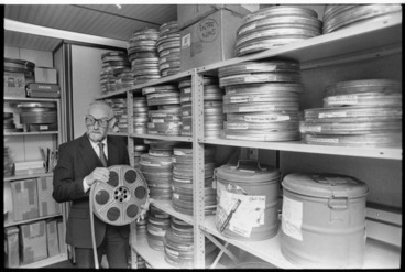 Image: Chief film censor Arthur Everard with reels of film - Photograph taken by Merv Griffiths