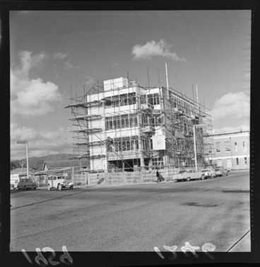 Image: North Island Motor Union Insurance Company (NIMU) Building under construction, Lower Hutt, Wellington Region, including scaffolding