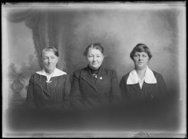 Image: Studio portrait of three unidentified women, probably Christchurch district